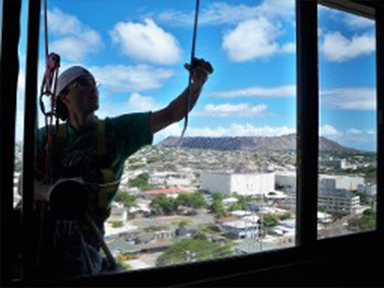 Cleaning a High Rise Window